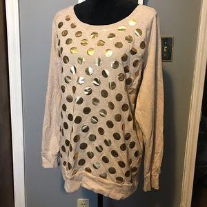 Gold polka dot ling sleeve shirt